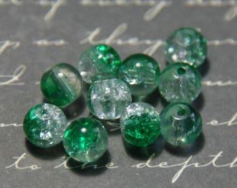 10 dark green Crackle glass beads / transparent