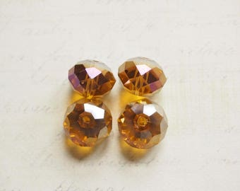 4 purple iridescent amber 14 mm Swarovski Crystal faceted beads