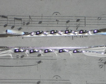 5 pins clips twisted silver-plated 55mm