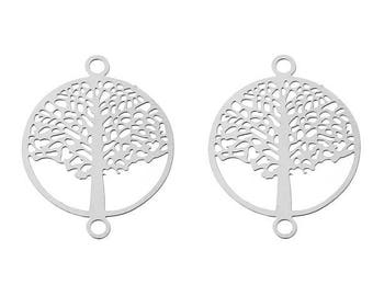 2 connectors print tree of life silver-plated 19x15mm
