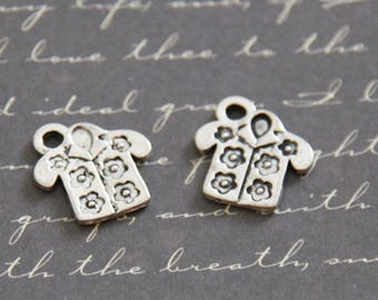 2 charms shirt floral silver-plated 15x15mm