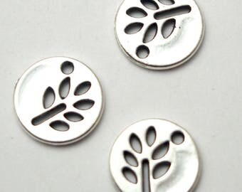 2 charms silver metal 12mm round and vegetal Medal