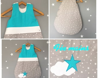 Sleeping bag 0-6 months cotton gray white, turquoise and white stars