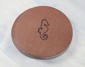 Seahorse Leather Coasters 4 Pack