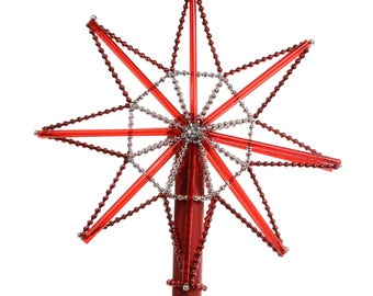 Star Red Glass Christmas Tree Topper