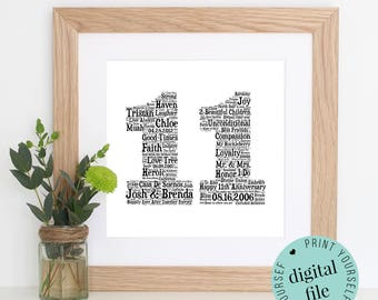 11th ANNIVERSARY GIFT - Word Art - Printable Gift - 11 Year Anniversary - 11th Wedding Anniversary - Steel Anniversary - Personalised Gift