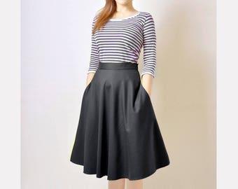 Midi Skirt, High Waist Midi Skirt, Black Flared Skirt, 50s Skirt