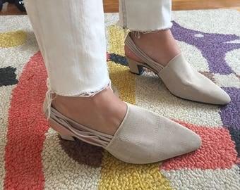 Beautiful minimal beige slingback heels size 6.5B