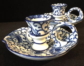 Pair of Takahashi Japan Delft Blue Handled Candle Holders