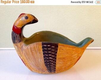 Presidential Savings Sgraffito Ceramic Pheasant Bowl Mid Century Italy 1960s Bitossi Raymor Rosenthal Netter Londi