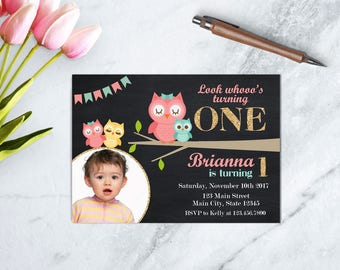 Owl Birthday Invitation, Pink Owl Birthday Invite, Girl First Birthday, Owl Birthday Party, Look Who's Turning One, Owl Party, Pink Owl,