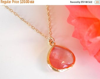 SALE Wedding Jewelry, Coral Necklace, Gold, Peach, Grapefruit, Bridesmaid Jewelry, Necklace, Pendant, Gold filled Necklace, Bridesmaids Gift