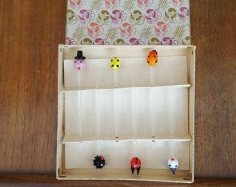 Vintage handmade glass swizzle sticks in the style of little people, some with hats very cute talking piece for a party