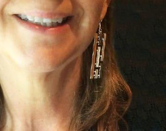 Hypoallergenic earrings.Lightweight earrings.Dangle earrings.Long earrings.Silver&Gold plated earrings.Gift for wife.Valentine gift