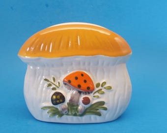 Vintage Merry Mushrooms Napkin Holder