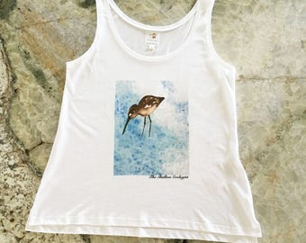 Organic, Eco Friendly Women's Tank Top with Sand Piper Design