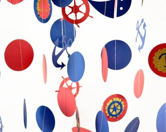 Nautical Garland, Nautical Circle Garland, Nautical Decorations, Nautical Baby Shower, Ahoy it's a Boy, Nautical Birthday, Nautical Party