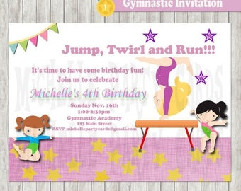 50%Off Gymnastic Invitation-Gymnastic Birthday-Gymnastic party-Gymnastic card-Gymnastic invite-Available in 4x6 or 5x7 formats