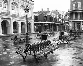 New Orleans Art, Black and White Photography, New Orleans Wall Art, Jackson Square, French Quarter, Travel Decor