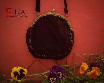 Black velvet vintage style purse