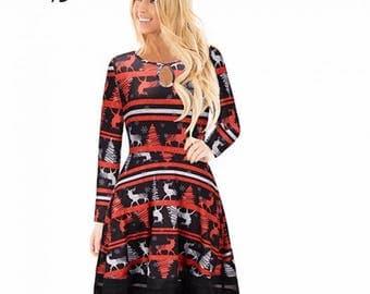 Long Sleeve Black Christmas Print Dress