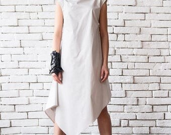 ON SALE NEW Off White Asymmetric Loose Summer Dress/Sleeveless Maxi Dress/Summer Casual Dress/Oversize Tunic Dress/Long Maxi Top/Plus Size T