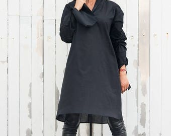 SALE Black Oversize Shirt/Long Loose Tunic/Long Sleeve Black Top/Black Maxi Tunic/Oversize Tunic Top/Plus Size Long Shirt/Black Tunic Dress