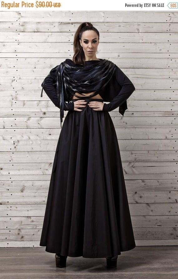 ON SALE Maxi Black Skirt / Long Black Skirt / Oversize Long