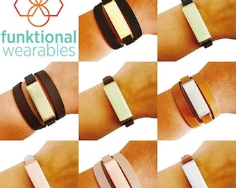 Fitbit Bracelet for Fitbit Flex Fitness Trackers - The KATE Brushed Metal and Genuine Leather Wrap or Single Strap Buckle Fitbit Bracelet
