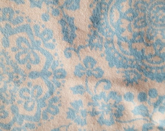 Blue Ivory Floral Flannel Fabric 100% Cotton Flannel Fabric