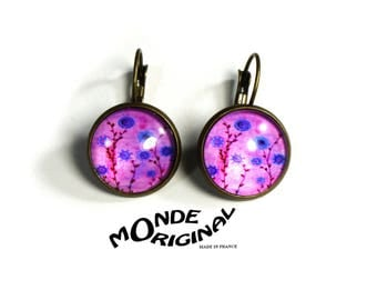 Pink Purple floral glass cabochon earrings
