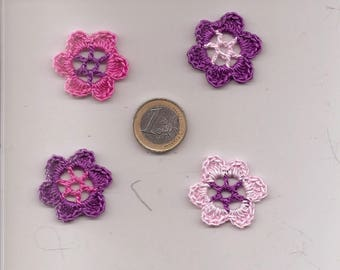 SET OF 8 FLOWERS CROCHET FOR SCRAPBOOKING