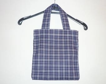 Bag handles made of 100% cotton fabric, blue and white grid