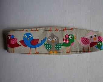 Baby headband gray and small birds
