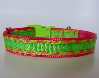 Honey Paracord Dog Collar - Neon Green and Raspberry - Ready to Ship!