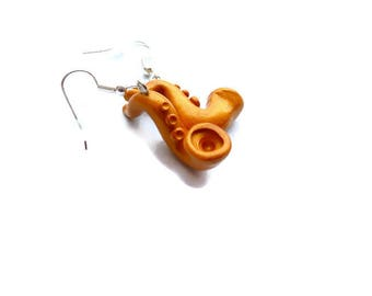 Hand made musical instruments saxophone earrings