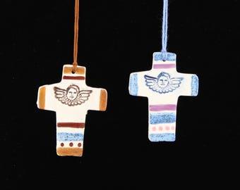 Angel Cross Ornaments, Set of 2 Cherub Handmade Clay Crosses by Southwest Ceramic Artist, Karlene Voepel