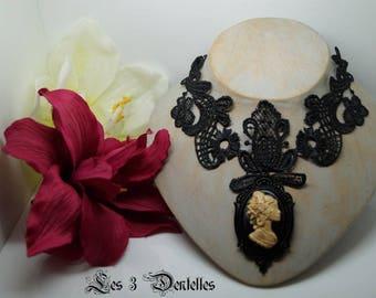 Black Lace necklace * cameo * 3 laces