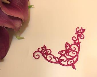 skin Butterfly wedding jewelry * rhinestone * fuchsia sequin