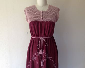 1970s Burgundy cotton gauze dress with crocheted top