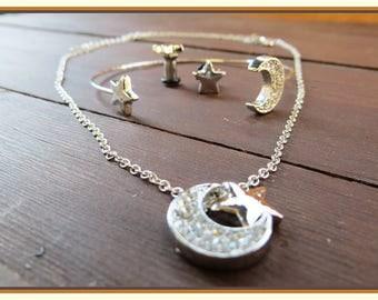 Sweet Diamond Dreams Necklace, Bracelet, stretched ear plug Earrings set gauge size - 12g, 8g, 6g aka 2mm, 3mm, 4mm