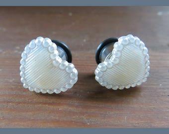 White Heart Veil anniversary prom wedding EAR TUNNELS on stainless steel plugs gauge 8g, 6g, 4g, 2g, 0g aka 3mm, 4mm, 5mm, 6mm, 8mm