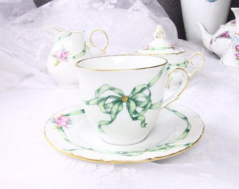 VSC Hand Painted Cup and Saucer with Rose and Green Ribbon