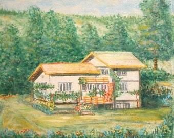 Antique oil painting houselandscape