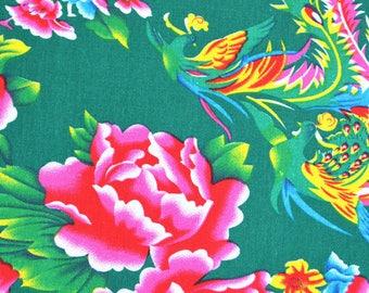 Chinese fabric traditional peony furnishings Green 0.5m
