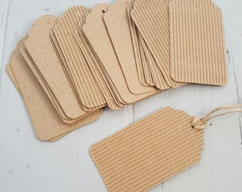 20 Corrugated Kraft Swing Tags 8x4cm scalloped