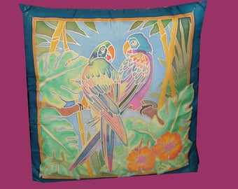 silk cushion parakeets amid tropical @evysoie