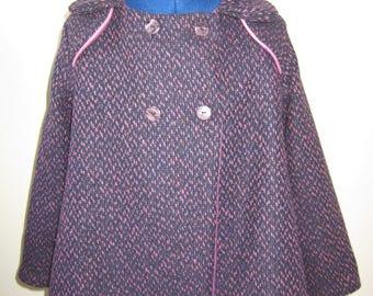 retro girl in heathered wool coat