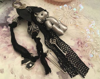 romantic bag bird silver bear charm