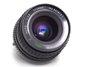 Super Paragon 28mm f2.8 Macro Wide Angle Lens Olympus OM Mount DSLR Adaptable EOS mft m43